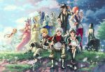 4girls 6+boys aced_(kingdom_hearts) ava_(kingdom_hearts) bear_mask black_cloak blaine_(kingdom_hearts) boots box chirithy cloak clouds cloudy_sky covered_eyes dandelion ephemer_(kingdom_hearts) everyone flower fox_mask grass gula_(kingdom_hearts) hands_together hat hat_feather hood hood_up horse_mask invi_(kingdom_hearts) ira_(kingdom_hearts) kingdom_hearts kingdom_hearts_unchained_x kingdom_hearts_x_back_cover lauriam luxu_(kingdom_hearts) mask multiple_boys multiple_girls nijuuni skuld_(kingdom_hearts) sky smile snake_mask strelitzia_(kingdom_hearts) ventus
