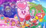 1boy 4girls bandanna blade_knight blonde_hair blue_hair broom broom_hatter castle commentary_request como_(kirby) covered_mouth drop_shadow faceless flamberge_(kirby) francisca_(kirby) hat heart heart_eyes hyness jester_cap kirby kirby:_star_allies kirby_(series) multiple_girls official_art one-eyed plugg_(kirby) redhead smile sparkle staff sweeping vividria waddle_dee waddle_doo zan_partizanne
