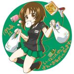 1girl :t alternate_costume bag bangs baozi black_legwear black_shirt bottle brown_eyes brown_footwear brown_hair circle collared_shirt commentary_request employee_uniform eyebrows_visible_through_hair food girls_und_panzer green_background green_skirt grocery_bag holding kneehighs loafers looking_at_viewer miniskirt mouth_hold name_tag nishizumi_miho outside_border parda_siko pleated_skirt print_shirt scanner shirt shoes shopping_bag short_hair short_sleeves skirt solo standing steam translation_request twitter_username uniform
