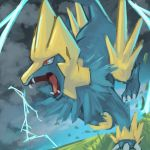 fangs gen_3_pokemon lightning manectric no_humans pokemon pokemon_(creature) red_eyes tesshii_(riza4828) tongue