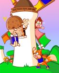 1boy 1girl acorn angry animal berri brown_hair child chipmunk conker conker's_pocket_tales conker_(series) deviantart evil gift grass grin jamesmantheregenold king_acorn microsoft mushroom nintendo no_humans ponytail present rareware shirt squirrel sunflower surprised twelve_tales:_conker_64 windmill young