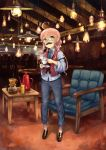 1girl ahoge alternate_costume animal animal_on_shoulder arm_belt chair coffee_pot commentary_request cup fake_facial_hair fake_mustache full_body glasses hair_bun hanging_light hatomugi_seika highres indoors kantai_collection long_hair long_sleeves makigumo_(kantai_collection) necktie pants pink_hair rabbit sidelocks standing table teacup vest yellow_eyes
