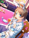 1girl animal_ears artist_name blue_eyes chair cup cupcake dutch_angle eyebrows_visible_through_hair fake_animal_ears food gloves grey_hair half_gloves highres long_sleeves looking_at_viewer love_live! love_live!_sunshine!! macaron marshall_(wahooo) pocket_watch rabbit_ears saucer short_hair sipping sitting solo stained_glass table tablecloth teacup teaspoon watanabe_you watch white_gloves