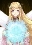 aigis_(sennen_sensou_aigis) arch blonde_hair blush dark_background derivative_work dress frills goddess head_wreath inside long_hair looking_at_viewer magic narumizg pink_dress sennen_sensou_aigis signature smile standing very_long_hair violet_eyes white_wings wide_sleeves wings