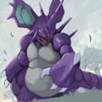 claws fang gen_1_pokemon horn horns nidoking no_humans pokemon pokemon_(creature) tesshii_(riza4828)
