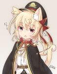 1girl animal_ears bangs belt_collar black_cape black_hat black_skirt blonde_hair blush brown_belt cape cat_ears cat_girl cat_tail cherry_blossom_print chestnut_mouth collared_shirt commentary_request coreytaiyo dated dress_shirt eyebrows_visible_through_hair flandre_scarlet hair_between_eyes hat highres kemonomimi_mode long_hair looking_at_viewer one_side_up parted_lips peaked_cap print_skirt red_collar red_eyes shirt signature skirt solo tail touhou white_shirt