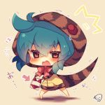 /\/\/\ 1girl bangs bikini blue_hair blush bow brown_eyes chibi commentary_request directional_arrow eyebrows_visible_through_hair full_body hair_between_eyes holding hood hood_up hoodie kemono_friends looking_at_viewer muuran open_mouth pink_bow red_bikini signature snake_tail solo standing striped_hoodie striped_tail swimsuit trembling tsuchinoko_(kemono_friends) wavy_mouth