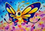 beautifly butterfly color_ink_(medium) commentary_request creature enryuu_(pixiv3483358) full_body gen_3_pokemon highres insect multicolored multicolored_background multicolored_eyes multicolored_skin no_humans petals pokemon pokemon_(creature) signature solo traditional_media twitter_username