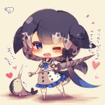 1girl ;d animal ascot bangs black_bow black_hair black_sailor_collar blue_eyes blue_neckwear blush bow chibi closed_mouth dress eyebrows_visible_through_hair grey_hair heart holding kemono_friends kneehighs looking_at_viewer multicolored_hair muuran narwhal narwhal_(kemono_friends) narwhal_tail no_shoes one_eye_closed open_mouth print_dress sailor_collar sailor_dress short_sleeves signature smile solo standing tail translation_request white_dress white_legwear