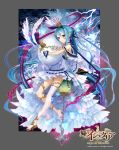 age_of_ishtaria apt bare_shoulders black_nails blue_hair brown_footwear copyright_name crown dress easter_egg egg full_body gloves grey_background hair_bun high_heels highres hug lightning long_hair looking_at_viewer nail_polish pointy_ears saga_of_ishtaria see-through single_thighhigh sitting tail thigh-highs very_long_hair violet_eyes watermark white_dress white_gloves wings