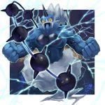 alternate_form blue_eyes gen_5_pokemon legendary_pokemon lightning no_humans pokemon pokemon_(creature) tesshii_(riza4828) thundurus