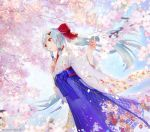 1girl artist_name blue_hair blue_hakama blue_sky bow cherry_blossoms dappled_sunlight day dutch_angle fate/grand_order fate_(series) feet_out_of_frame flat_chest floral_print from_below hair_bow hair_ornament hairclip hakama hand_on_own_chest japanese_clothes kimono long_hair long_sleeves outdoors parted_lips ponytail red_bow red_eyes shiny shiny_hair shutsuri sidelocks sky solo spring_(season) standing sunlight tomoe_gozen_(fate/grand_order) very_long_hair white_kimono wide_sleeves