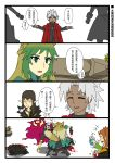 2girls 3boys absurdres achilles_(fate) achilles_(tank_destroyer) amakusa_shirou_(fate) anger_vein animal_ears atalanta_(fate) beard blood bloody_hands breath brown_eyes cat_ears cat_tail comic cross cross_necklace cup drinking_straw facial_hair fate/apocrypha fate_(series) food green_eyes green_hair highres holding holding_cup jewelry karna_(fate) long_hair long_sleeves looking_at_another multicolored_hair multiple_boys multiple_girls mustache namesake necklace open_mouth pointy_ears popcorn punching semiramis_(fate) short_hair smile tail tan tank_destroyer trembling turret war_thunder white_background white_hair william_shakespeare_(fate) yellow_eyes yuberril