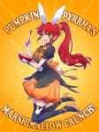 1girl animal_ears bunny_tail cereal cereal_box commentary_request english fake_animal_ears fake_tail food green_eyes halloween halloween_costume happy high_heels highres iesupa marshmallow ponytail pumpkin_pants pyrrha_nikos rabbit_ears redhead rwby solo sparkle spoon tail thigh-highs