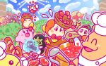 /\/\/\ 1boy baguette baseball_cap basket beanie black_eyes blonde_hair blue_hat blue_sky blush_stickers bow bowtie bread bush chef_kawasaki commentary_request como_(kirby) driblee festival_bird food fruit green_hat hat jammerjab jar kirby kirby_(series) ladle nesp official_art pot red_neckwear sky smile spider strawberry sugar tripping vividria waddle_dee