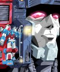 2boys 80s autobot blue_eyes closed_mouth commentary_request glowing glowing_eyes highres metroplex multiple_boys no_humans oldschool qhon red_eyes standing transformers ultra_magnus