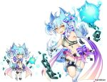 1girl :d aki_no_jikan animal_ears arms_at_sides ass ball_and_chain_restraint bare_shoulders blue_bow bow breasts broken broken_chain chains claws grey_hair hair_ornament looking_at_viewer maru-kichi midriff multiple_views navel official_art open_mouth short_twintails single_thighhigh small_breasts smile snowflake_hair_ornament standing standing_on_one_leg tail thigh-highs twintails watermark white_legwear wolf_tail yellow_eyes