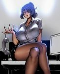 breasts collarbone collared_shirt desk dress_shirt eu03 eyepatch grey_eyes hair_intakes holding holding_phone huge_breasts miniskirt monitor nail office office_lady on_desk original pantyhose phone ponytail purple_hair shirt sitting sitting_on_desk skirt thick_thighs thighs