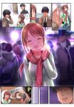 ! !! 1boy 1girl :d black_hair brown_eyes brown_hair closed_eyes commentary_request highres idolmaster idolmaster_cinderella_girls jewelry kazu long_hair mifune_miyu necktie open_mouth ponytail producer_(idolmaster) ring ring_box scarf smile solo_focus spoken_exclamation_mark sweatdrop waving wedding_band