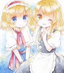 2girls alice_margatroid apron black_ribbon black_skirt black_vest blonde_hair blue_background blue_dress blue_eyes blush braid capelet cowboy_shot dress finger_to_chin gradient gradient_background hair_ribbon hairband hand_up index_finger_raised kagome_f kirisame_marisa lolita_hairband long_hair looking_at_viewer multiple_girls no_headwear one_eye_closed orange_eyes parted_lips puffy_short_sleeves puffy_sleeves red_ribbon ribbon sash short_hair short_sleeves side-by-side simple_background single_braid skirt smile touhou traditional_media tress_ribbon v_arms vest waist_apron watercolor_(medium) white_capelet wrist_cuffs
