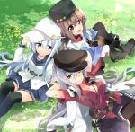 3girls belt black_bow black_footwear black_gloves black_hat black_legwear black_sailor_collar black_skirt blue_eyes blue_shawl boots bow brown_eyes brown_hair brown_legwear facial_scar fingerless_gloves flat_cap gangut_(kantai_collection) gloves grass grey_hair hair_bow hair_ornament hairclip hammer_and_sickle hat hibiki_(kantai_collection) highres hizuki_yayoi jacket jacket_on_shoulders kantai_collection long_hair looking_at_viewer low_twintails lying military military_jacket military_uniform multiple_girls orange_eyes pantyhose papakha peaked_cap pleated_skirt red_eyes red_shirt remodel_(kantai_collection) sailor_collar scar scar_on_cheek scarf school_uniform serafuku shirt short_sleeves silver_hair sitting skirt star tashkent_(kantai_collection) thigh-highs thigh_boots torn_scarf twintails uniform verniy_(kantai_collection) white_hat white_jacket white_scarf