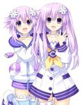 2girls d-pad d-pad_hair_ornament dress hair_ornament highres jacket long_hair looking_at_viewer multiple_girls nepgear neptune_(choujigen_game_neptune) neptune_(series) open_mouth purple_hair sailor_dress short_hair siblings simple_background sisters smile violet_eyes white_background zero_(ray_0805)