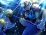1girl android blue_eyes blue_lipstick blush bubble capcom chocoriina deviantart_sample elbow_gloves eyeshadow fish_tail gloves helmet holding holding_weapon image_sample lips lipstick makeup mermaid monster_girl polearm rockman rockman_(classic) rockman_9 solo spear splash_woman tail underwater water weapon white_gloves