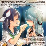2girls ^_^ alternate_costume black_sailor_collar blush closed_eyes colored_pencil_(medium) commentary_request dated food fujinami_(kantai_collection) green_neckwear grey_hair grin hamanami_(kantai_collection) holding holding_food kantai_collection kirisawa_juuzou long_hair multiple_girls neckerchief numbered open_mouth purple_hair sailor_collar sandwich school_uniform serafuku short_sleeves side_ponytail smile traditional_media translation_request twitter_username