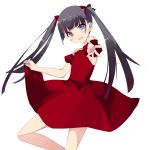 1girl absurdres bent_elbow bent_knee black_hair blush blush_stickers bow breasts commentary dress eyebrows_visible_through_hair hair_bow heterochromia highres long_hair looking_at_viewer misteor open_mouth original outstretched_arm red_bow red_dress solo twintails white_background