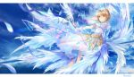1girl absurdres blonde_hair card_captor_sakura clear_card crown dress feathered_wings feathers gloves green_eyes highres kinomoto_sakura magical_girl short_hair_with_long_locks sidelocks sky sleeveless sleeveless_dress solo staff white_dress white_gloves white_wings wings