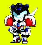 1boy autobot blue_eyes full_body insignia jazz_(transformers) looking_at_viewer no_humans simple_background smile solo standing transformers tynkingyo4792 yellow_background