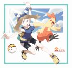 1girl alternate_color aqua_border bare_arms bare_shoulders bike_shorts bike_shorts_under_shorts blue_eyes blue_hairband blue_ribbon blue_shirt blue_sky border bracelet breasts brown_hair character_name clouds collarbone combusken eyebrows eyebrows_visible_through_hair eyelashes fanny_pack gen_3_pokemon hairband haruka_(pokemon) haruka_(pokemon)_(remake) highres impossible_clothes jewelry legs_apart level_ball light_rays long_hair medium_breasts nomura_(buroriidesu) open_mouth outstretched_arms poke_ball pokemon pokemon_(game) pokemon_oras ribbon shirt shoes shorts sky solo striped striped_ribbon sunbeam sunlight tank_top tongue v-shaped_eyebrows white_shorts yellow_footwear