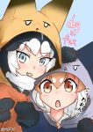 2girls absurdres alternate_costume animal_ears black_hair blush commentary_request cosplay dog_(kemono_friends) eyebrows_visible_through_hair ezo_red_fox_(kemono_friends) ezo_red_fox_(kemono_friends)_(cosplay) fox_ears gloves hand_on_another's_head highres kemono_friends kisaragi_biyori light_brown_hair multicolored_hair multiple_girls necktie paw_pose scarf short_hair siberian_husky_(kemono_friends) signature silver_fox_(kemono_friends) silver_fox_(kemono_friends)_(cosplay) translation_request white_hair
