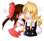 2girls ^_^ ahoge blonde_hair blouse bow braid brown_hair closed_eyes d: detached_sleeves embarrassed hair_bow hair_tubes hakurei_reimu half_updo heart hug kirisame_marisa large_bow long_hair multiple_girls open_mouth puffy_short_sleeves puffy_sleeves sarashi short_sleeves side_braid sidelocks single_braid smile solo_focus spoken_blush spoken_heart sweat touhou turtleneck user_kojitan vest yellow_eyes yuri