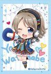 1girl ;d armband blue_eyes blush boots center_frills character_name chibi collared_shirt fingerless_gloves gloves grey_hair headphones heart jacket knee_boots love_live! love_live!_sunshine!! megaphone necktie one_eye_closed open_mouth plaid plaid_skirt polka_dot_border sakurai_makoto_(custom_size) shirt short_hair skirt smile solo standing standing_on_one_leg star string_of_flags striped striped_background twitter_username vertical-striped_background vertical_stripes watanabe_you