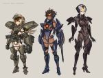 :d bodysuit bow bracer_phoenix braid breasts brown_eyes brown_hair covered_navel dark_skin erect_nipples flipped_hair full_body gauntlets gipsy_avenger greaves hair_bow headphones highres leotard light_brown_hair long_hair mecha_musume medium_breasts multicolored_hair obsidian_fury open_mouth pacific_rim pacific_rim:_uprising personification short_hair sideboob sidelocks sigm@ silver_hair simple_background smile standing streaked_hair twin_braids very_long_hair yellow_eyes