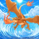 blue_eyes charizard claws dragon fangs fire gen_1_pokemon highres ocean pokemon pokemon_(creature) solo tesshii_(riza4828) waves wings