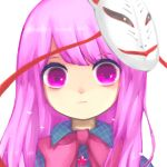 1girl :t asymmetrical_bangs bangs bow bowtie buttons closed_mouth collared_shirt commentary expressionless eyebrows_visible_through_hair eyelashes fox_mask hata_no_kokoro kani_(cpj2) long_hair looking_at_viewer mask mask_on_head parted_bangs pink_neckwear plaid plaid_shirt portrait purple_hair shirt short_eyebrows simple_background solo star strap swept_bangs touhou violet_eyes white_background