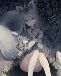 1girl animal animal_ear_fluff animal_ears ass bandaged_arm bandaged_hands bandages bangs blush cat closed_mouth commentary_request convenient_leg dress eyebrows_visible_through_hair feet_out_of_frame flower grey_dress grey_eyes grey_hair gun hair_between_eyes hair_intakes head_tilt highres holding holding_gun holding_weapon knees_up light_brown_hair long_hair long_sleeves looking_at_viewer original sitting solo tail tail_raised tandohark thigh-highs torn_clothes torn_legwear very_long_hair weapon weapon_request white_legwear yellow_flower