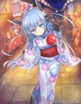 1girl ange_vierge animal_ears black_gloves blue_eyes blue_hair blurry blurry_background character_request festival floral_print gloves japanese_clothes kimono lantern night night_sky official_art omega_47_toto outdoors paper_lantern path road shamonor sky smile stall standing wide_sleeves