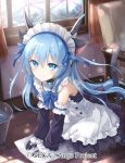 1girl ange_vierge animal_ears bare_shoulders black_gloves blue_bow blue_eyes blue_hair bow bucket bucket_of_water cat_ears chair curtains day detached_sleeves gloves indoors kneeling long_hair looking_at_viewer maid official_art omega_47_toto shamonor smile solo tail watermark window wooden_floor
