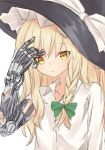 1girl blonde_hair blush braid collarbone collared_shirt cybernetic_parts cyborg frown hat highres kirisame_marisa long_hair long_sleeves looking_at_viewer marisuku mechanical_arm shirt side_braid single_braid solo touhou wire witch_hat yellow_eyes