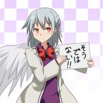 1girl cato_(monocatienus) checkered checkered_background eyebrows_visible_through_hair frown gradient gradient_background grey_hair holding holding_sign kishin_sagume long_sleeves looking_at_viewer medium_hair red_eyes sign simple_background single_wing solo touhou translated upper_body white_background wings