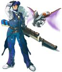 bayonet belt capcom commentary_request crossover drone dynamo full_body gloves goggles gun hand_on_headwear hand_on_own_head hat headgear holding holding_weapon hudy8358 insect_wings legs_apart long_hair male_focus monster_hunter monster_hunter_xx multiple_belts rifle rockman rockman_x shoes silver_hair simple_background smile solo standing weapon white_background white_footwear wings