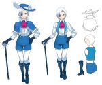 1boy ascot blue_eyes blue_flower blue_footwear blue_gloves blue_hat blue_rose blue_shorts blue_vest boots cane capelet character_sheet commentary eyepatch flower fur_collar gloves hat hat_flower hat_rose high_heel_boots high_heels leggings long_sleeves meme50 red_neckwear rose shirt shorts suspender_shorts suspenders todoki_uka uka's_room vest virtual_youtuber white_flower white_hair white_legwear white_rose white_shirt