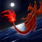 charizard dragon fire flying gen_1_pokemon no_humans pokemon pokemon_(creature) sky solo sun tesshii_(riza4828)