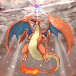blue_eyes charizard dragon fire gen_1_pokemon highres mega_charizard_y mega_pokemon no_humans pokemon pokemon_(creature) pokemon_(game) pokemon_xy tesshii_(riza4828) wings