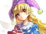 1girl american_flag american_flag_print artist_name asuku_(69-1-31) bangs blonde_hair blush closed_mouth clownpiece eyebrows_visible_through_hair fairy_wings flag_print hat heart highres jester_cap long_hair looking_away looking_up neck_ruff pixiv_id polka_dot_hat purple_hat shiny shiny_hair short_sleeves simple_background smile solo tareme touhou upper_body wavy_hair white_background wings