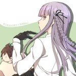 1boy 1girl ahoge aki_aiko bangs black_ribbon black_skirt blunt_bangs braid brown_hair character_name closed_mouth danganronpa danganronpa_1 expressionless from_behind gloves hair_ribbon hand_up highlights kirigiri_kyouko knees_up long_hair long_sleeves looking_back miniboy miniskirt multicolored_hair naegi_makoto purple_hair ribbon side_braid sitting skirt solid_oval_eyes two-tone_background very_long_hair violet_eyes white_gloves