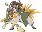 2girls clenched_teeth d-nobi fighting green_eyes green_hat green_vest hat holding holding_staff hong_meiling looking_at_another multiple_girls orange_(touhou) orange_eyes orange_hair redhead short_sleeves sketch staff star sweat teeth touhou touhou_(pc-98) vest yellow_hat
